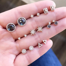 8 Pairs/set Boho Black Crystal Star Round Geometry Gold Stud Earrings Set New Arrivel Woman Simple Jewelry Girls Gift