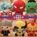 18 CM Uno pcs Marvel Iron Man Avengers 2 juguetes de peluche capitán América Hulk Thor SpiderMan BatMan SuperMan Película muñeca suave regalos
