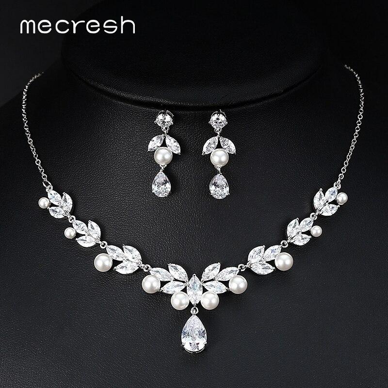 цена на Mecresh Elegant Simulated Pearl Bridal Necklace Sets Christmas Jewelry European Floral CZ Wedding Jewelry Sets for Women MTL529