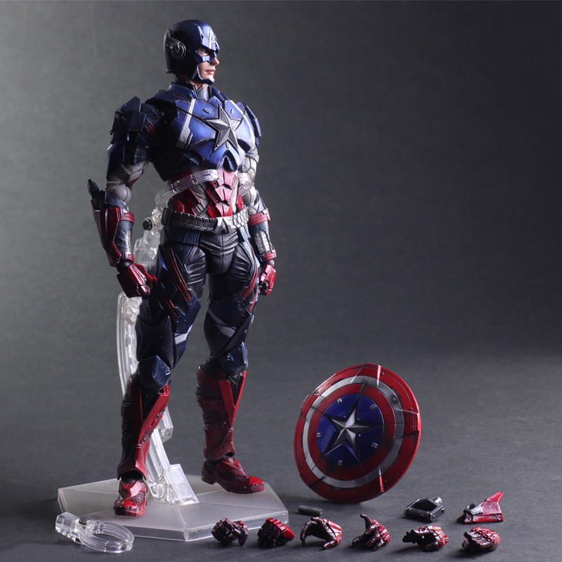 26cm Play Arts Kai Movable Figurine Captain America Super Hero PVC Action Figure Toy Doll Kids Adult Collection Model Gift 26cm crazy toys 16th super hero wolverine pvc action figure collectible model toy christmas gift halloween gift