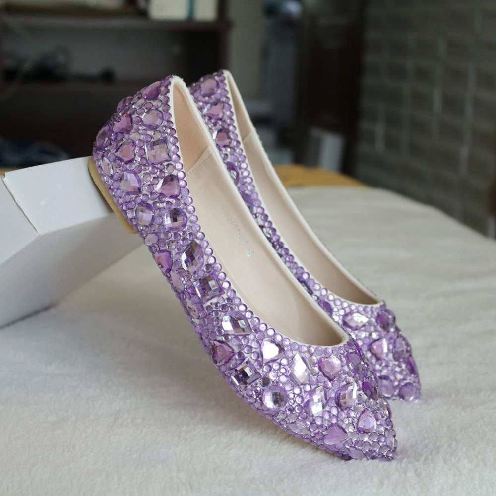 Fashion lavender rhinestone flats pointed toe women shoes luxury flat heel crystal  shoes light purple ballet flats for women-in Women s Flats from Shoes on ... e52441b718ff