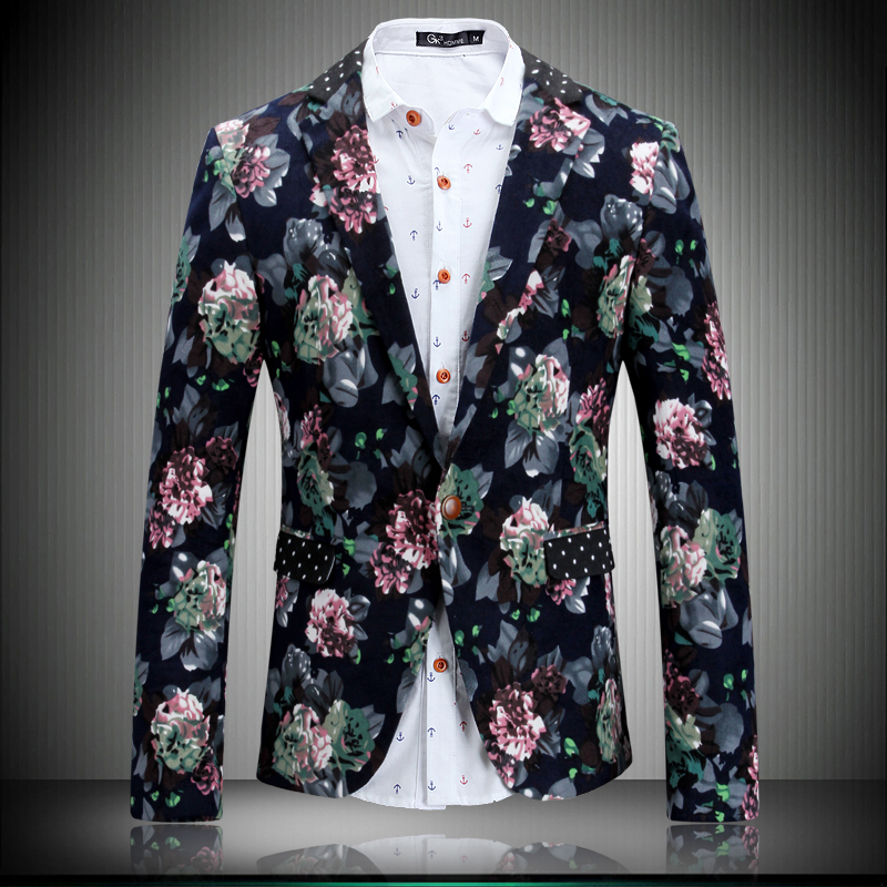 2016 new arrival Flower suit male fashion fancy slim jacket male ...