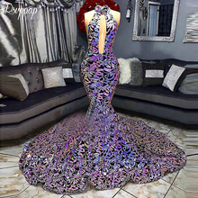 RSVPPAP 2019 Sparkly Long Mermaid Halter Bling Prom Dress
