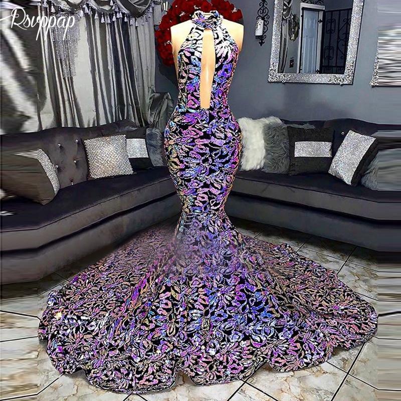 2019 Sparkly Long   Prom     Dresses   Mermaid Halter Bling Sequin African Black Girl Elegant New   Prom     Dress