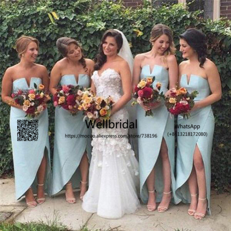 Unique Charming Simple   Bridesmaid     Dresses   Side Split Sexy Cheap Wedding Party   Dress   Formal   bridesmaid     dress