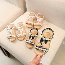 Summer Children Shoes Girl Princess Sandals Casual Beach Shoes Pearl Soft-Soled Kids Shoes 1-3Y