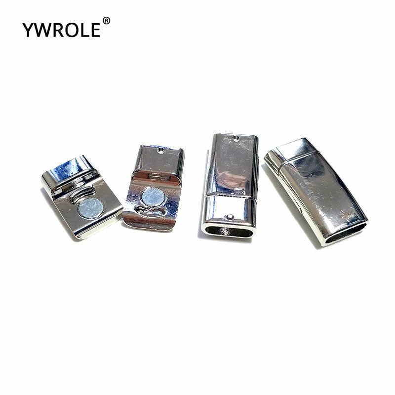 5 ชิ้น/ล็อตโค้งสีเงินแบนแม่เหล็ก Clasps สร้อยข้อมือสายหนังตัวเชื่อมต่อสำหรับเครื่องประดับ DIY ทำ 3*10 มม. อุปกรณ์เสริม