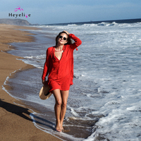 ביקיני אדום סקסי נשים שמלות החוף לשחות טיוח גודל חינם נשים שמלת הקיץ החדשה לחפות חג בנות בגדי ים לכסות את