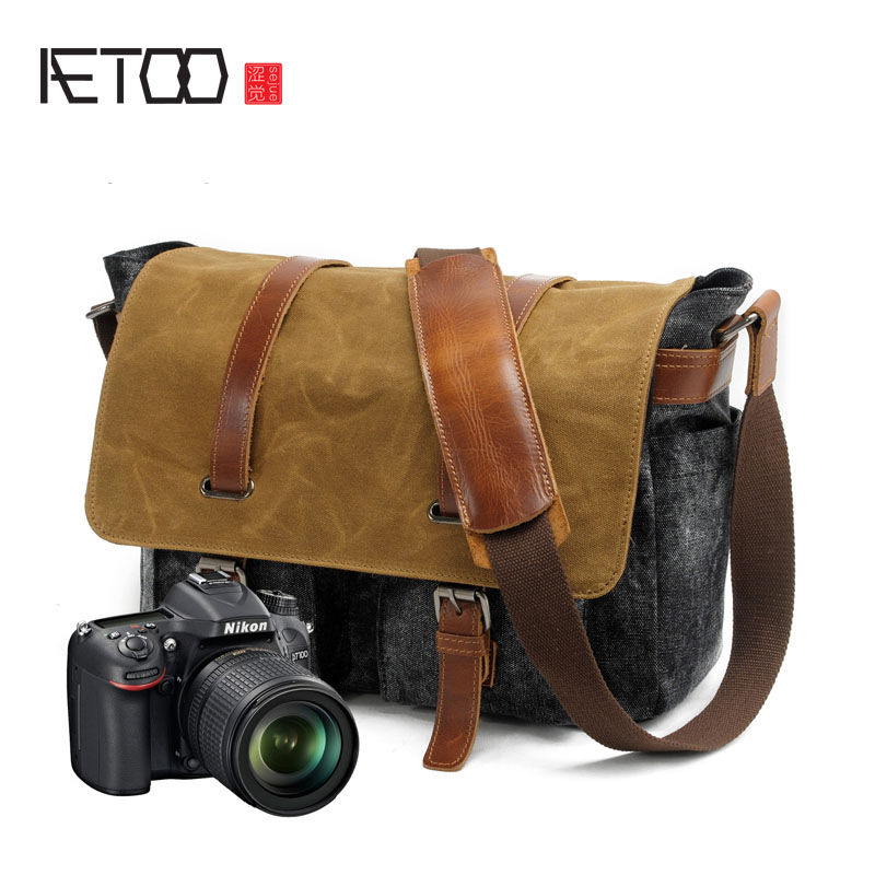 AETOO New mens canvas canvas bag dyeing cloth waterproof package retro leisure computer male bag hit color camera bag