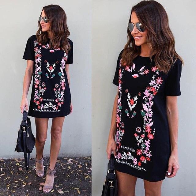 15a948c3f56 Ladies Summer Mini Dresses Women Work Wear Floral Print Sundress Round Neck  Short Sleeve Office T-Shirt Dress Vestidos XL