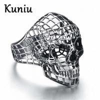 Fashion Vintage Europe Hollow Skull Rings For Men Rock Punk Ring Stainless Steel Rings