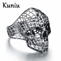 Fashion Vintage Europe Hollow Skull Rings For Men Rock Punk Ring Stainless Steel Rings