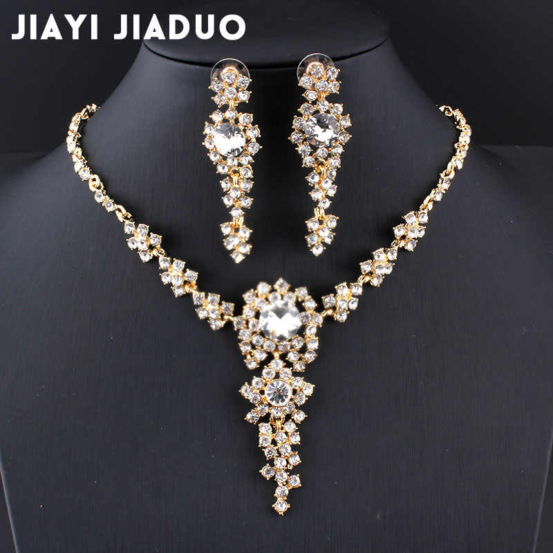 jiayijiaduo 2017 Wedding jewelry sets Bridal Necklace set for Women clothing accessories Jewellery Long earrings Crystal jewelry