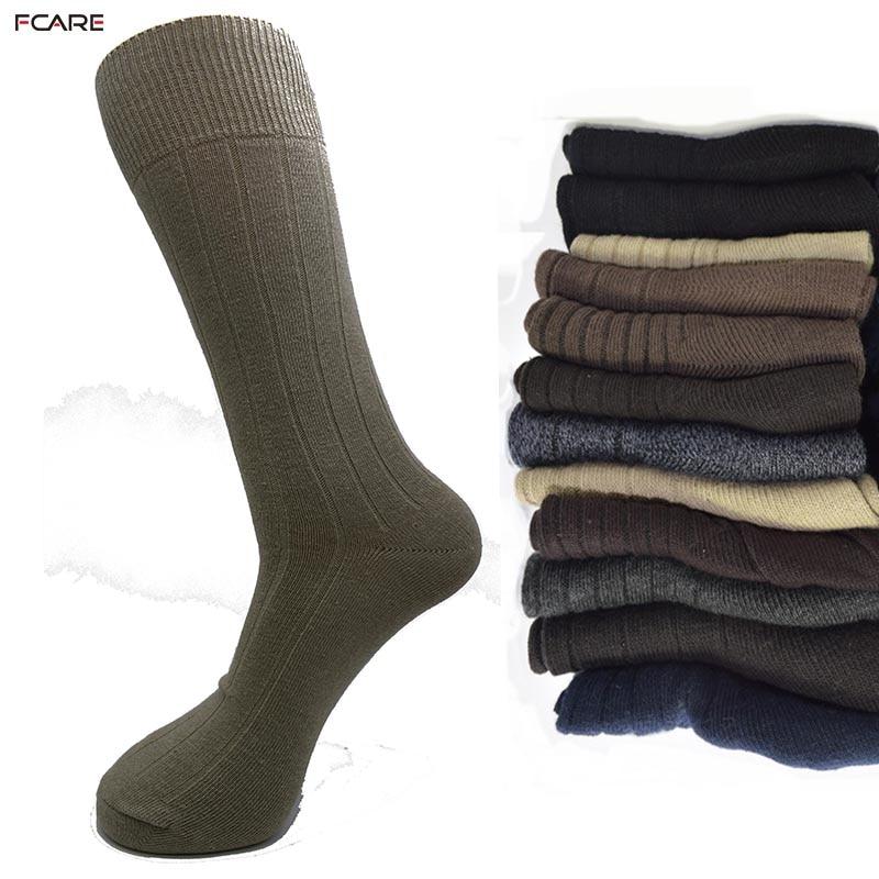 Fcare 6PCS=3 pairs men cotton dress business plus big size 44,45,46,47 long leg brown, gray blue black stripe crew   socks