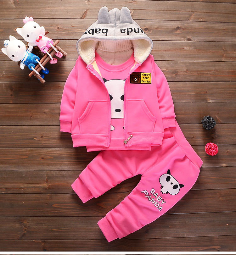 Children Set Baby Boys Clothing Sets Winter 1-4 years hoodies Jacket Winter Warm Kids Panda Clothes Suit Toddler Girls Costumes