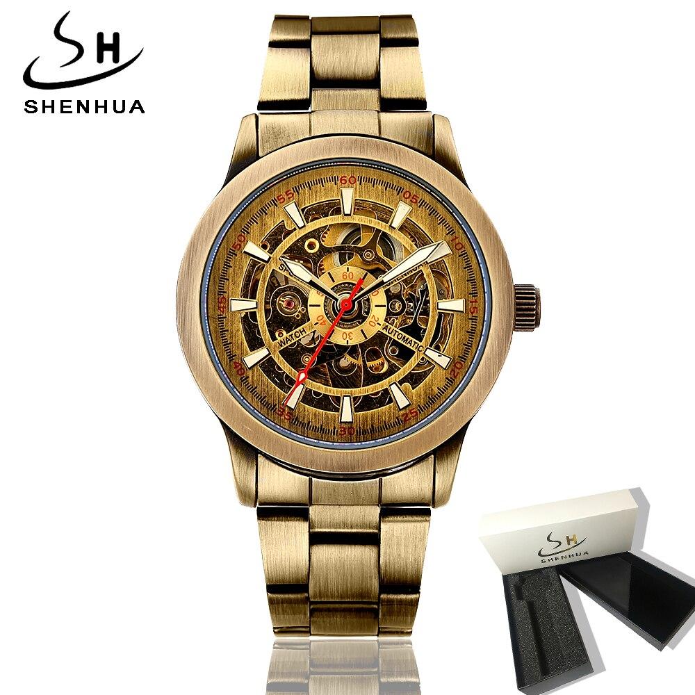 Vintage Bronze Metal Skeleton Watch Men Shenhua Antique Retro Mechanical Automatic Transparent Watch Clock Mens Wristwatches цена и фото