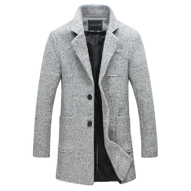 01ae12267010 2016 New Fashion Brand Clothes Trend Jacket Wool Coat Men Trench Single  Breasted Peacoat Stand Collar