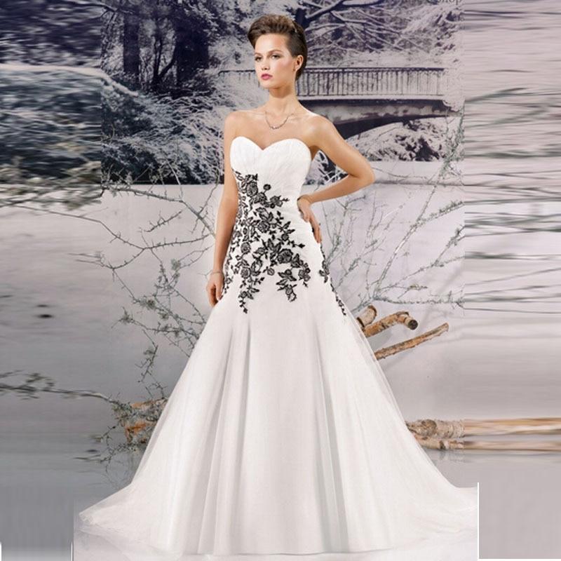 2017 nuevo amor blanco y negro vestidos de novia de encaje barrer de