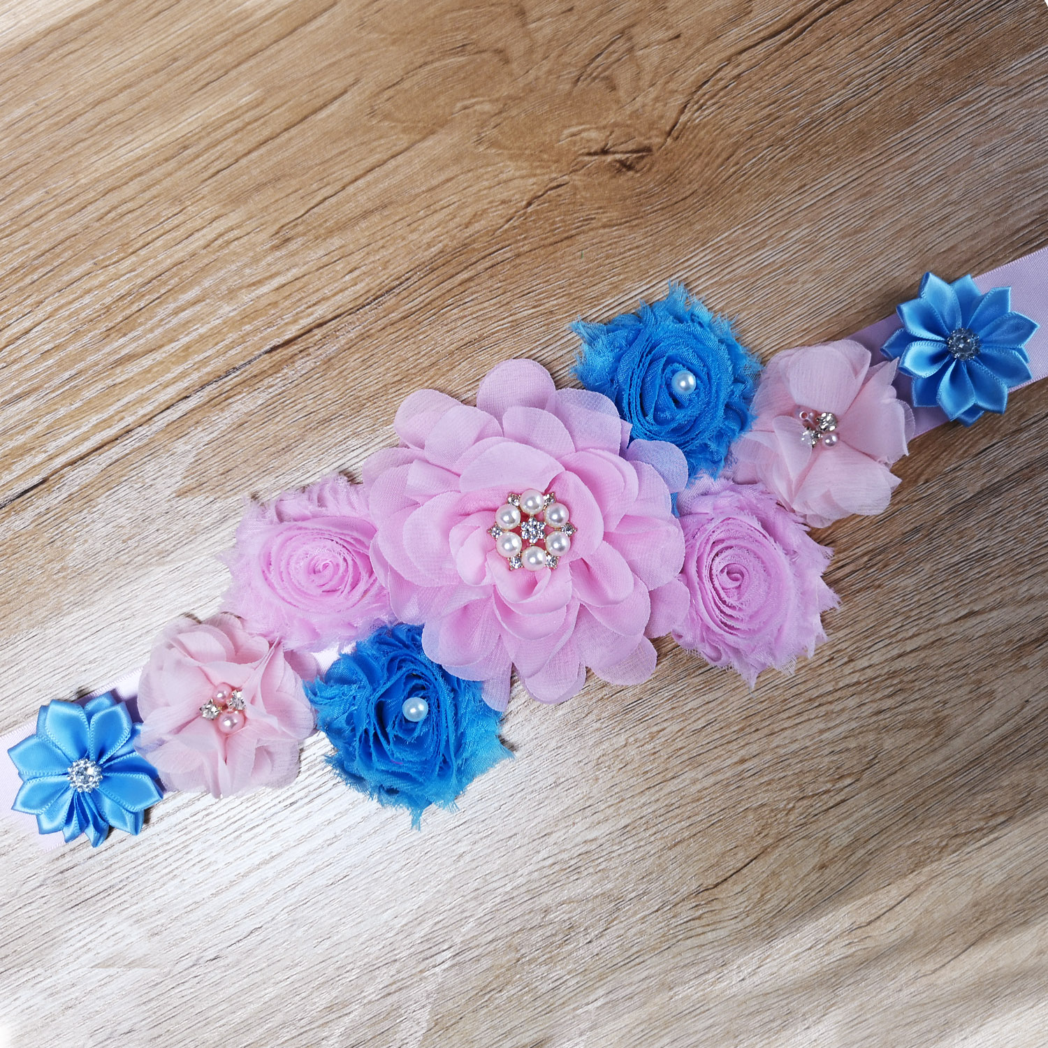 Flower Sash Pink Blue Maternity Sash Pregnancy Belly Belt Baby Shower Party Photo Prop Baby Gift Floral Belt Flower Girl Sash