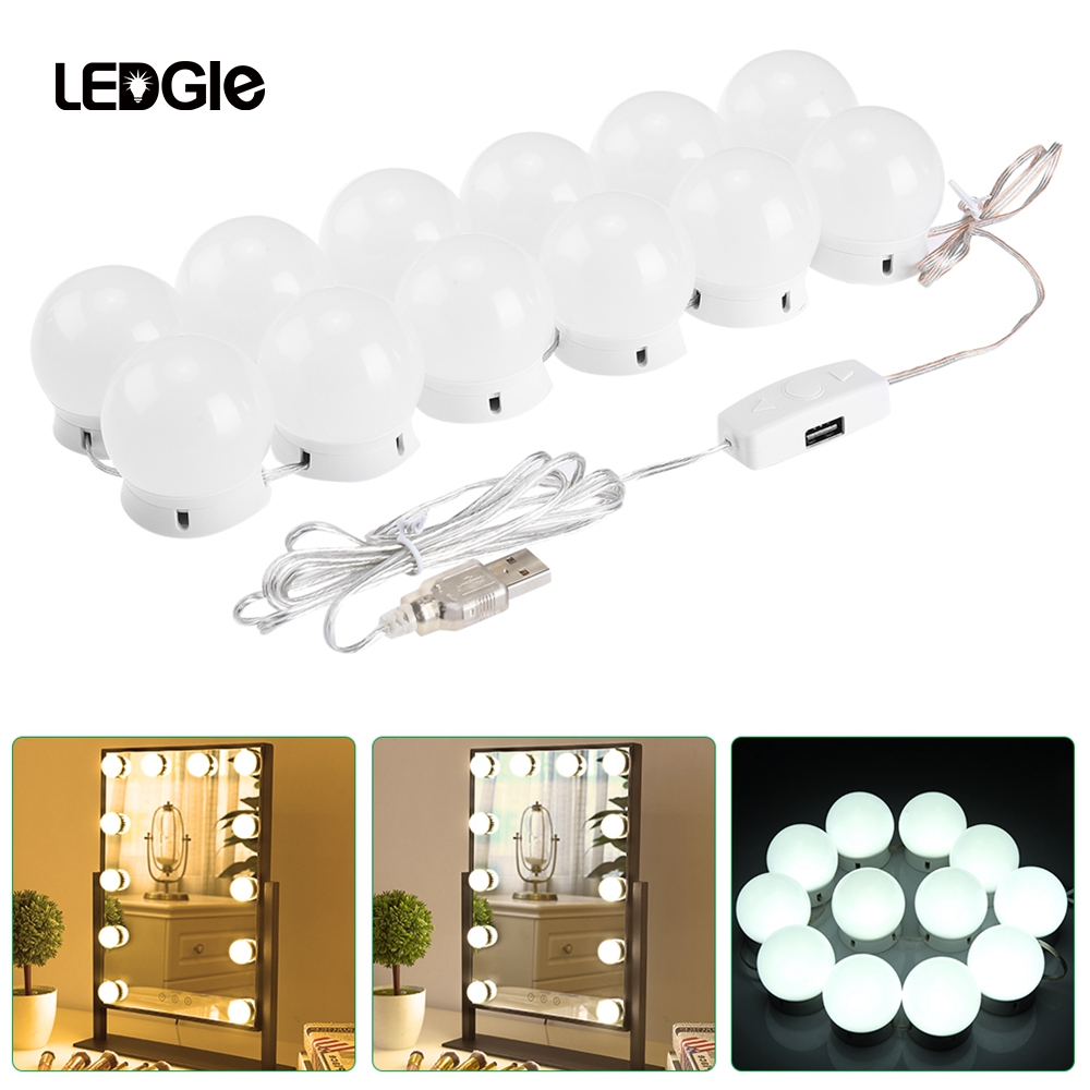 LEDGLE 12 Makeup Mirror Vanity LED Light Bulbs Lamp Kit Hollywood Light  Stepless Dimmable Wall Lamp Gift For Dressing Table
