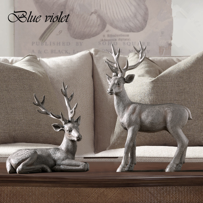 2018 Modern American Style Red Deer Statue Aanimal Figurine Sculpture For Home Decorations Attic Ornaments Bar 5