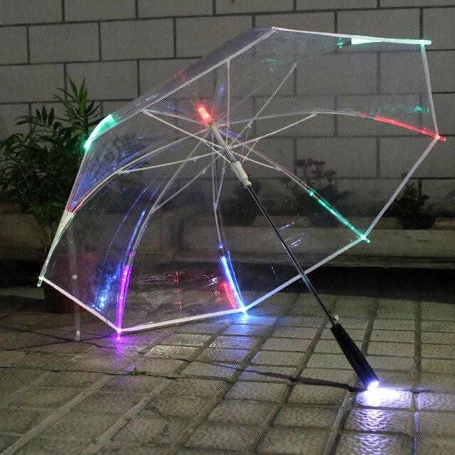 Led ışık şeffaf şemsiye çevre hediye parlayan parlayan şemsiye parti etkinliği sahne uzun saplı şemsiye