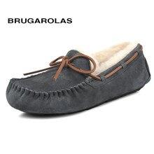 Brugarolas-классические женские зимние натуральная кожа мокасины замшевые шерсть повседневные женские теплые ботинки на меху ботильоны на плоской подошве Бесплатная доставка