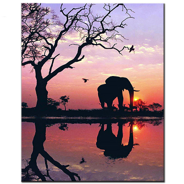 Full 5D Elephant Sunset Round Homlif Embroidery Diamond Painting Landscape 3D Mosaic Dia ...