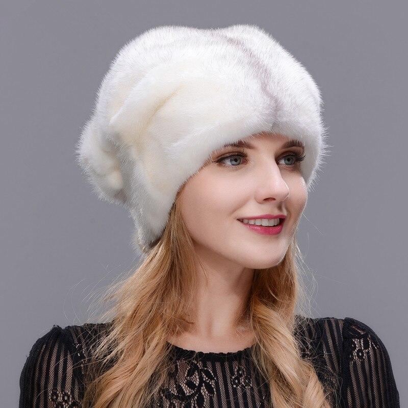 Зимние Для женщин меховая шапка зимняя натуральной норки Совета открытый теплая меховая шапка высокое качество модная шапка свободно регу