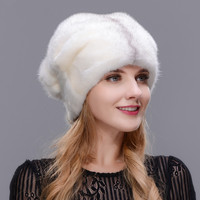 Winter Women fur hat winter natural real mink board outdoor warm fur hat high quality fashion hat free to adjust the size