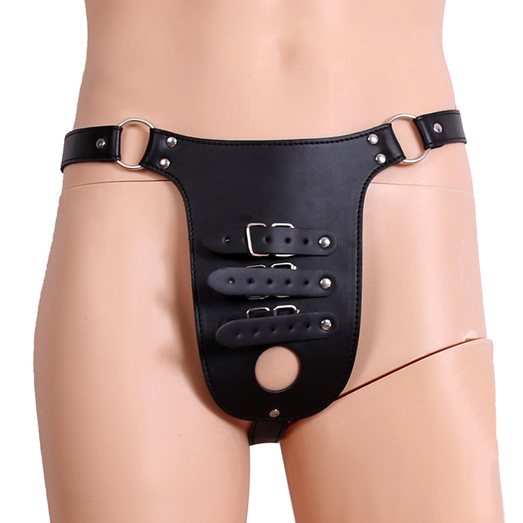 Men Dildo Underwear Strapon Leather Crotchless Panties Chastity Penis Cage Cock Ring BDSM Bondage Belt Fetish Sexy Briefs Thongs