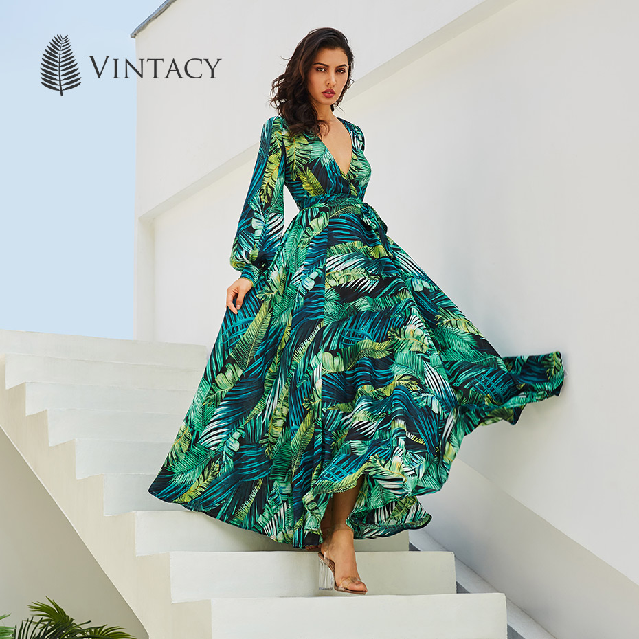 Vintacy Langarm Kleid Grün Tropical Strand Vintage Maxi Kleider Boho Casual V-ausschnitt Gürtel Spitze Up Tunika Drapierte Plus größe Kleid