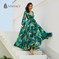 Vintacy Long Sleeve Dress Green Tropical Print Vintage Maxi Dresses Boho Casual V Neck Belt Lace