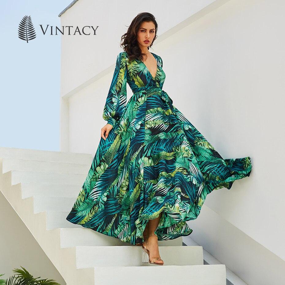 Vintacy с длинным рукавом платье Зеленый тропический пляж Винтаж Макси платья Boho Повседневное V шеи ремень на шнуровке Туника драпированные плюс Размеры платье