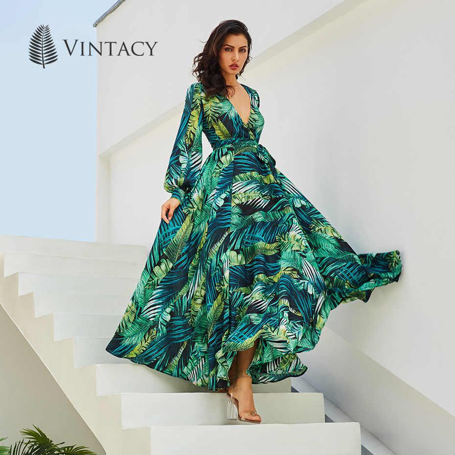 """Vintacy платье с длинными рукавами зеленый тропический пляж в винтажной плате макси в стиле """"Бохо"""" Повседневное платье с v-образным вырезом и поясом на шнуровке Туника драпированное платье больших размеров"""