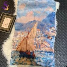 [BYSIFA] Стиль масляной живописи женские длинные шарфы весна осень бренд приморский город дизайн хаки синий чистый шелк шарф шаль