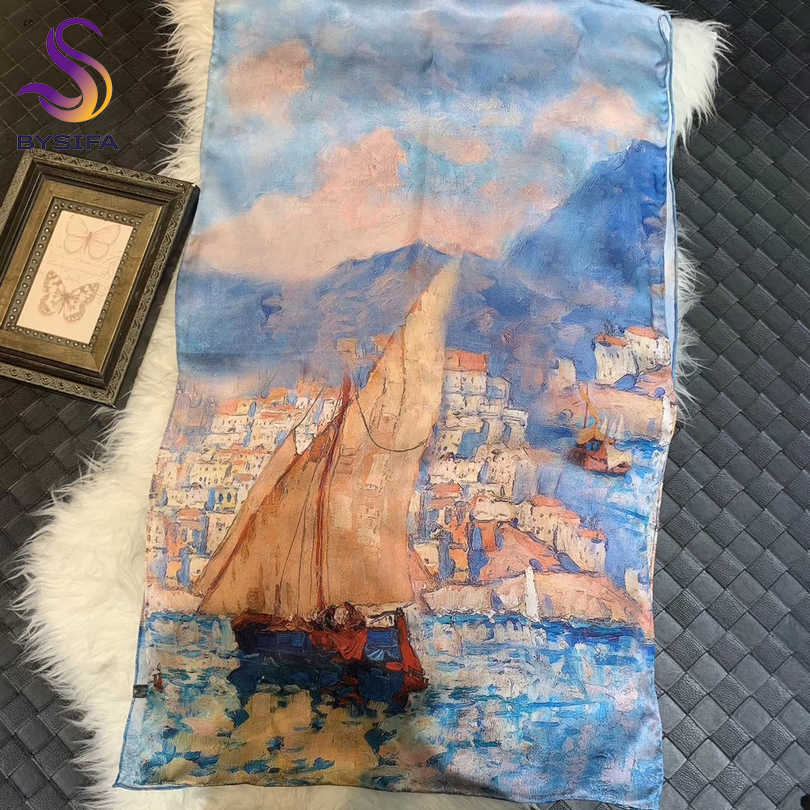 [BYSIFA] New Oil Painting Style Ladies Long Scarves Spring Fall Brand Seaside Town Design Khaki Blue 100% Pure Silk Scarf Shawl