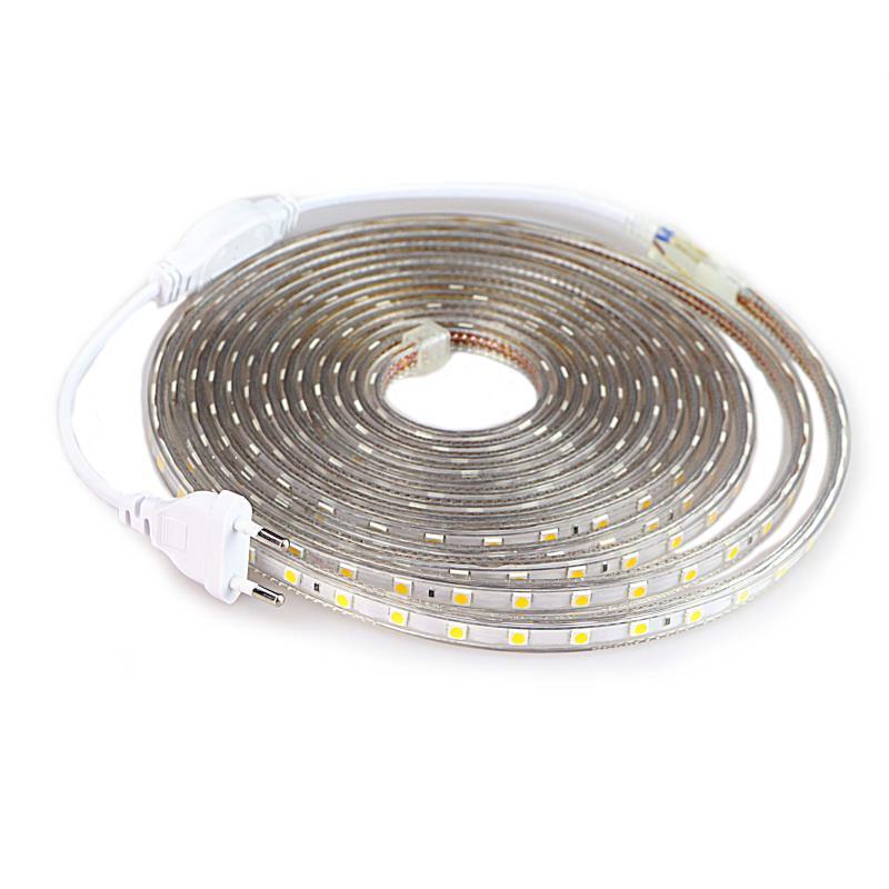 LED Strip SMD 5050 220V Waterproof Flexible LED Light Tape 220V Lamp Outdoor String 1M 2M 3M 4M 5M 10M 12M 15M 20M 25M 60LEDs