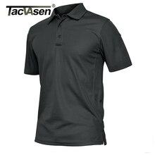 TACVASEN Summer Polo Shirts Mens Short Sleeve T shirt Quick Dry Army Tactical Military Work Golf T Shirt Tops Hiking Clothing