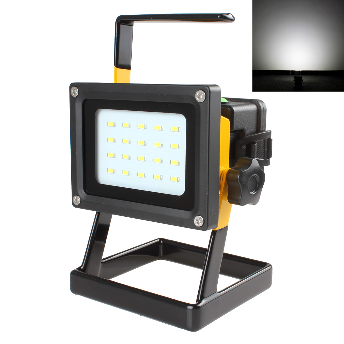 LED Floodlight Waterproof 20 SMD LEDs 600 LM 3-Mode Rechargeable Spotlight Camping Lamp with Handle + AC Adapter