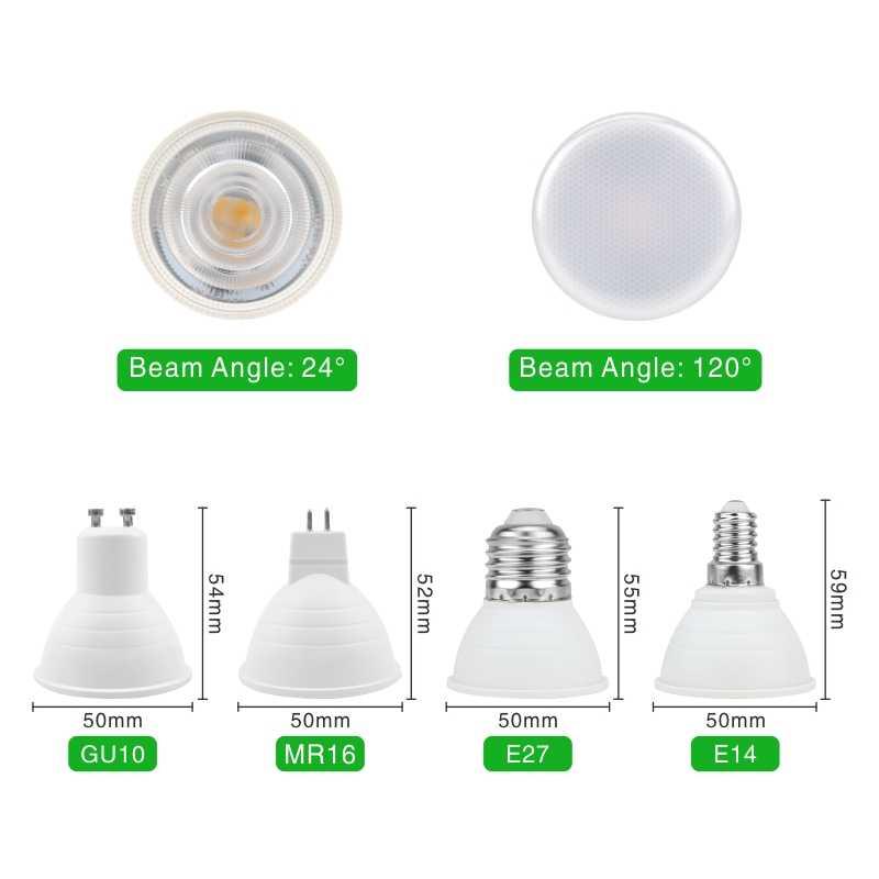 HA CONDOTTO LA Lampadina E27 E14 MR16 GU10 GU5.3 Lampada LED 6W 220V-240V 24/120 gradi Bombillas Led luce del Punto della lampada del Riflettore di Lampara LED