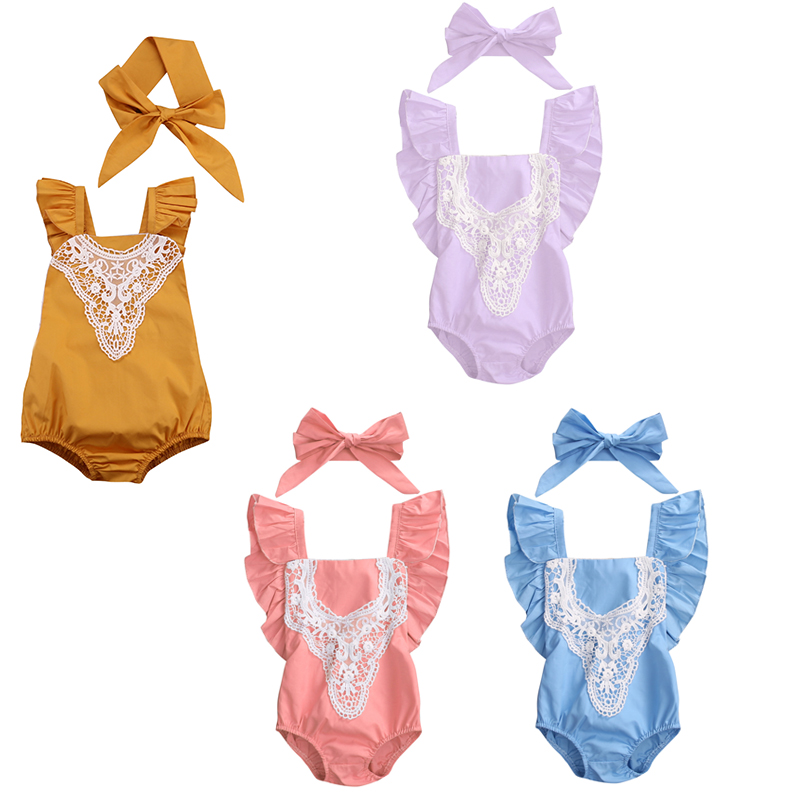 4 Color Cute Newborn Baby Girls Lace Romper Clothes 2017 Summer Ruffles Sleeve Halter Jumpsuit +Headband 2PCS Outfit Kid Sunsuit 2017 floral baby romper newborn baby girl clothes ruffles sleeve bodysuit headband 2pcs outfit bebek giyim sunsuit 0 24m