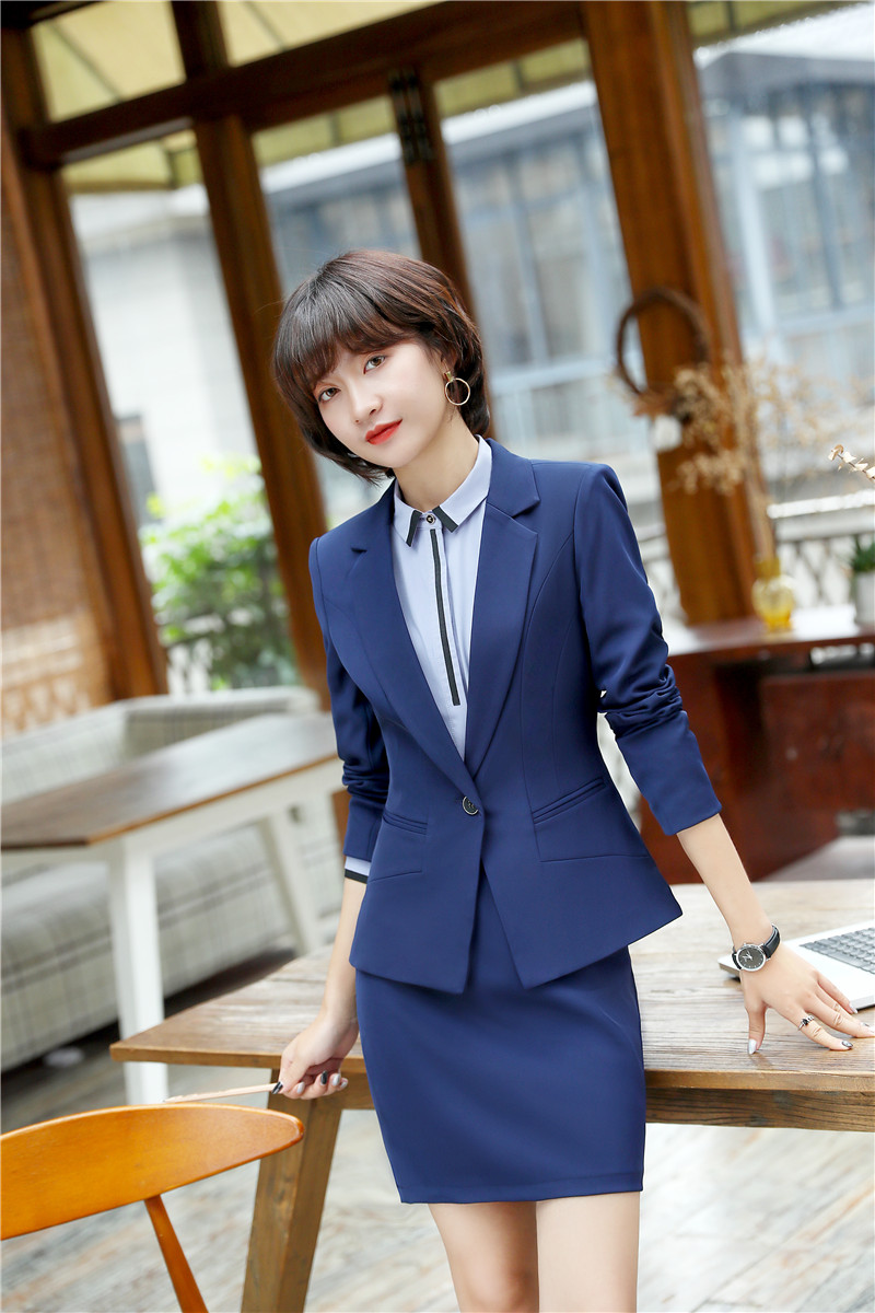 Novelty Blue Uniform Designs Blazers Suits With 2 Piece Jackets And Skirt 2018 New Styles Women Business Work Wear Outfits Sets