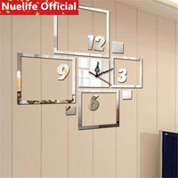 DIY digital rectangular pattern mirror clock stickers living room bedroom office TV sofa background decoration wall tickers