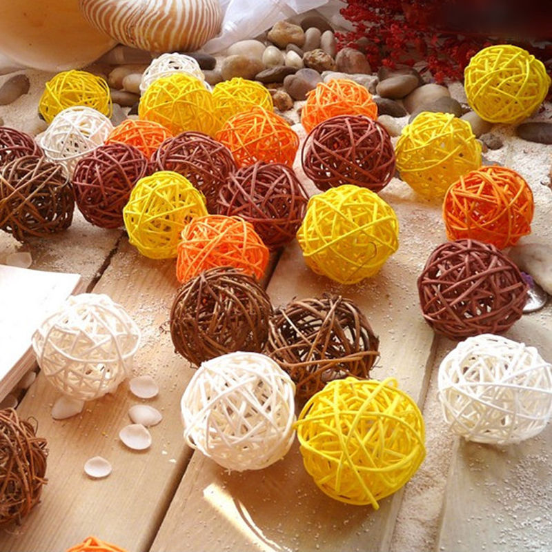 Festive & Party Supplies Ball Ornaments Crafts 50pcs/lot Wicker Rattan Ball Vintage Sepak Takraw Diy Home Accessories Birthday Wedding Party Decorations Kids Gifts