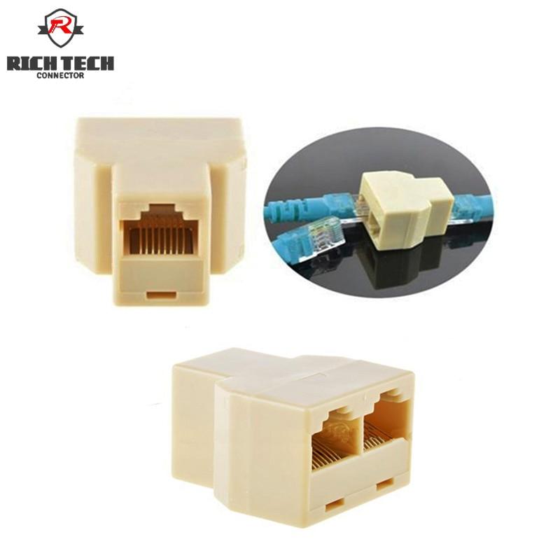 50pcs Cable network connector RJ45(8-core) 1-2 internet adapter network splitter converter