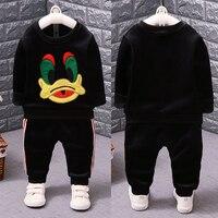 Boys Girls Gold Velvet Suit Children Baby Clothes Thicker T Shirt Pants 2pcs Sets Kids Cotton