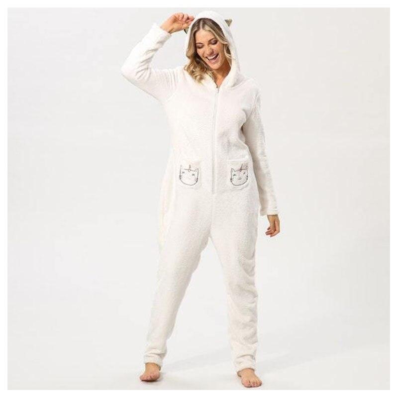 9a661803d5136 Centuryestar Для женщин Pijama де Unicornio Adulto Рождество Kawaii Медведь  Костюм фланель с капюшоном Животного Пижамы