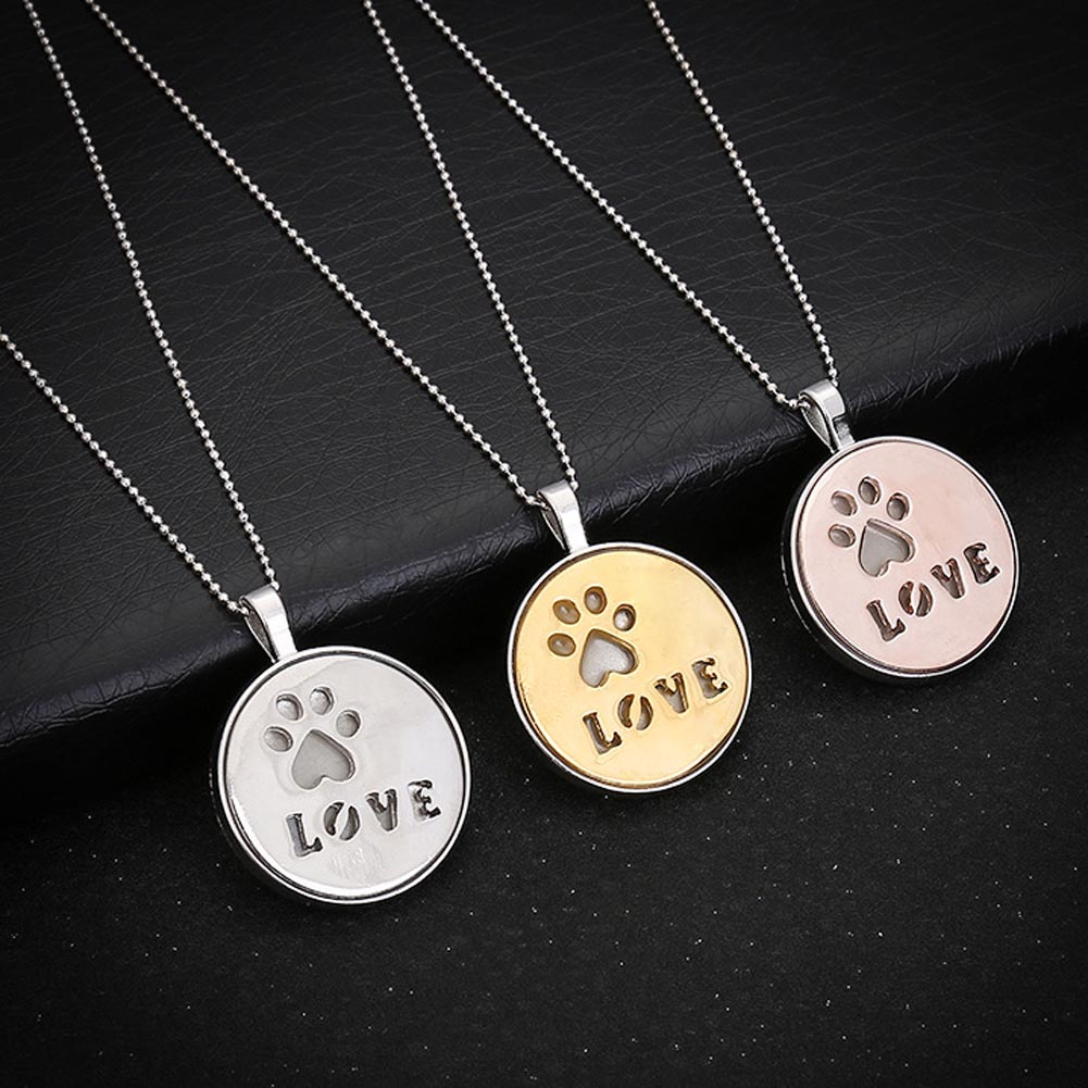 Luminous Necklaces Silver Color Pets Paw Dog Cat Necklace Glowing in Dark Pendant Necklaces Collares Maxi Choker Jewelry