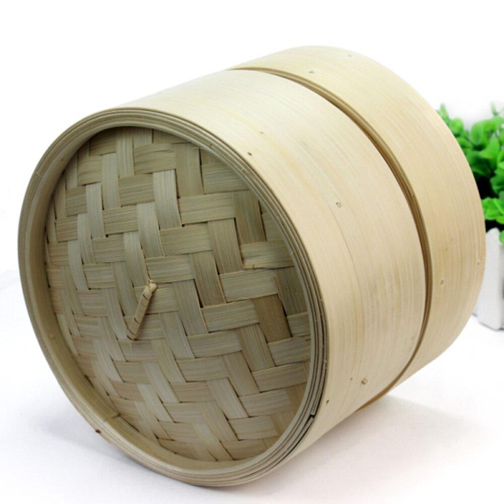 Прочная кухонная утварь 2 уровня, бамбуковый отпариватель, китайская кухонная посуда, набор для приготовления рыбы и риса с крышкой
